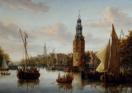 Harbour Scene, Amsterdam with Montelbaans (Mint) Tower