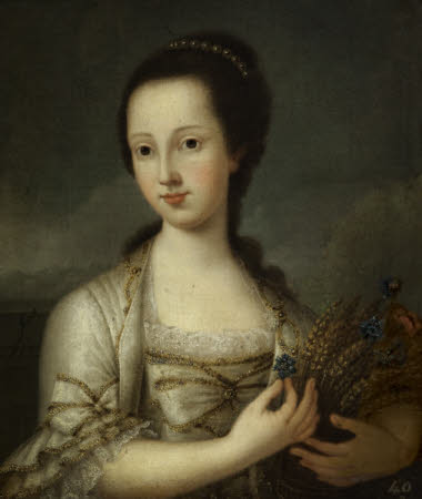 A Young Girl holding a Sheaf of Corn with Cornflowers (possibly Emma Cornewall, Mrs Thomas Vernon ...