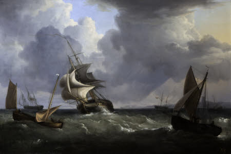 A Frigate and other Vessels in a Squall