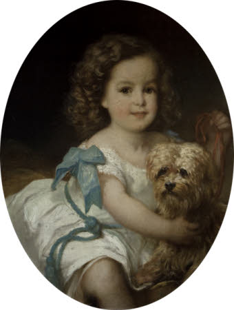 A Young Child with a Dog, possibly Lucy Vernon with 'Spot'