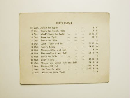 Petty Cash; Humorous Card