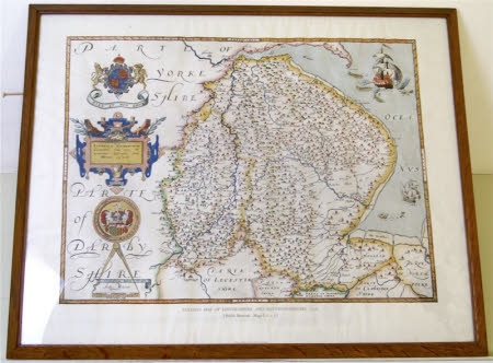 Map of Lincolnshire and Nottinghamshire c.1576