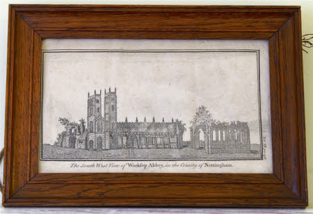 The South West View of Worksop Abbey, in the County of Nottingham.