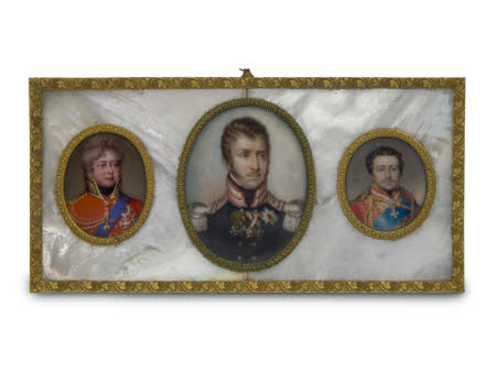 Three Oval Miniatures:The Prince Regent, later George IV (1762-1830) (Henry Bone) (left), King ...