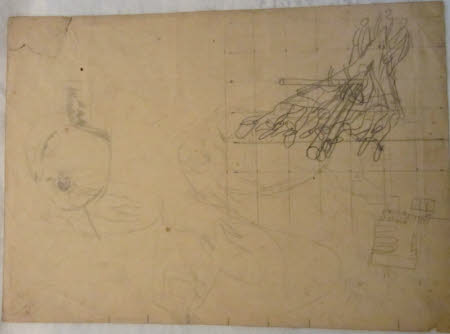 Study for Firebelt, a Head, three studies of bathing, and the chapel interior (recto) and Sketches ...