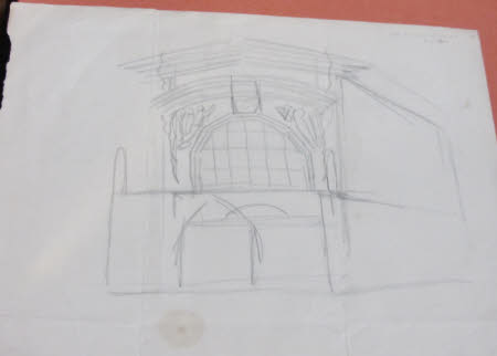 Sketch for the west end of Sandham Memorial Chapel (recto); Sketch with figures (verso)