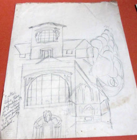 Sketches for the exterior façade and interior of Sandham Memorial Chapel