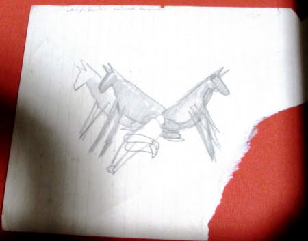 Preliminary Sketch for The Resurrection, of mules and a recumbent soldier