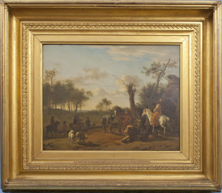 A Hunting Party halted in a Wooded Landscape