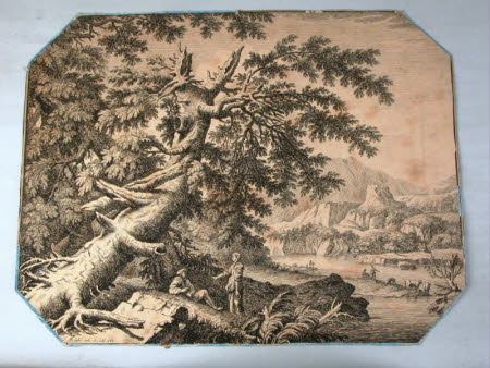 Romantic landscape with a large gnarled tree in the left foreground leaning diagonally in to the ...