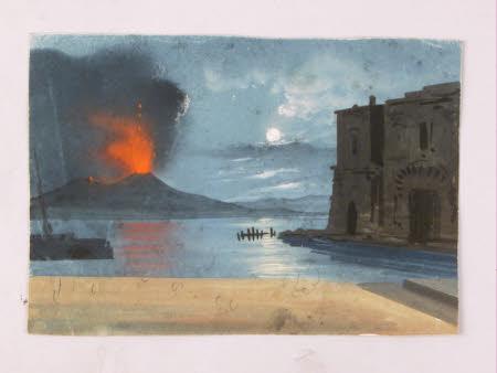 Moonlight Scene with Mount Vesuvius Erupting