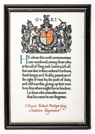 Framed Memorial Scroll awarded to Lieutenant Robert Philips Greg