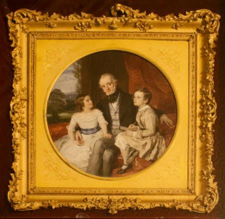 William Gibbs (1790-1875) with his Eldest Children, Dorothea Harriet Gibbs (1840-1914 and Antony ...