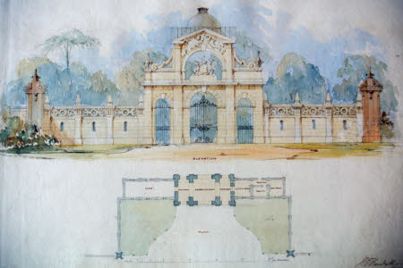 Plan and elevation for an entrance screen and lodge for Wimpole Hall, Cambridgeshire