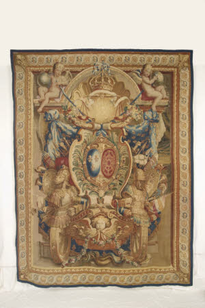 Castle Drogo, 904075, Gobelin Tapestry, 'Portiere du la Char Triomphe', designed by Charles Le Brun, after treatment, 2014  © National Trust / Jane Smith