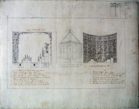 Cross-section and internal and external elevations of the west end of the Conservatory at Wimpole, ...