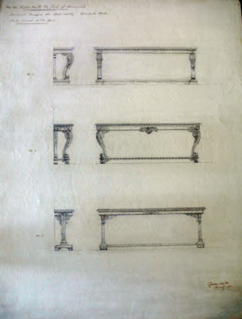 Three alternative designs for a pier table for Wimpole Hall, Cambridgeshire