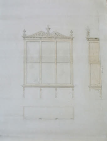 Design for a glazed cupboard for Wimpole Hall, Cambridgeshire