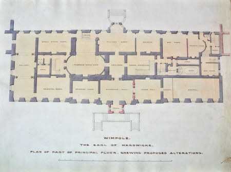 Plan of the ground floor of Wimpole Hall, Cambridgeshire