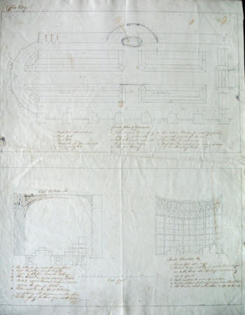 Ground plan, cross-section and perspective sketch for the remodelling of the orangery at Wimpole, ...