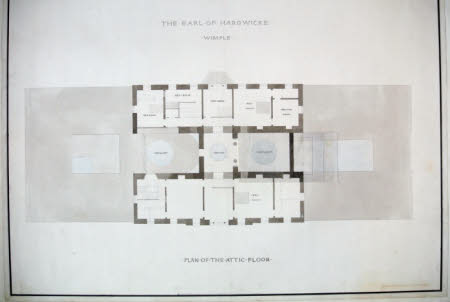 Plan of the attic floor at Wimpole Hall, Cambridgeshire