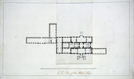 Survey of the ground floor of Wimpole Hall, Cambridgeshire, with flap