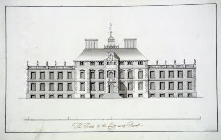 Survey drawing of the south front, or entrance, façade of Wimpole Hall, Cambridgeshire