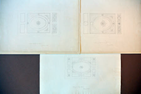 A set of three plaster ceiling designs for various rooms at Wimpole Hall, Cambridgeshire