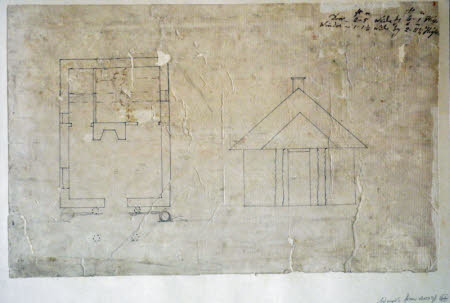 Plan and elevation for a lodge, possibly for an entrance screen to Wimpole Hall, Cambridgeshire