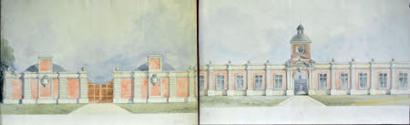Two elevations for the entrance front of a stable block at Wimpole, Cambridgeshire