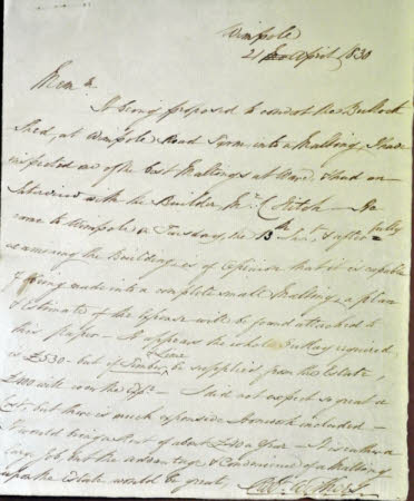 Letter concerning the construction of a new malting on the Wimpole Estate, Cambridgeshire