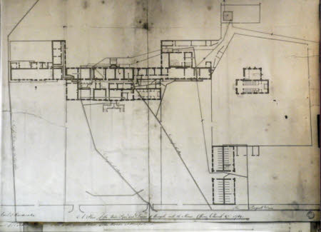 Drawing showing the layout of water pipes and drains at Wimpole, Cambridgeshire