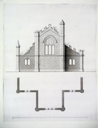 Elevation and plan for a gothic eye-catcher at Wimpole Hall, Cambridgeshire