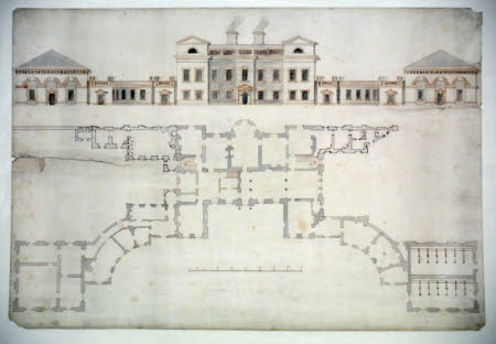 Principal elevation and ground floor plan of Normanton Park, Rutland, showing proposed additions