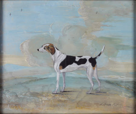 A Pointer called 'Ladybone' in a landscape