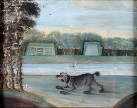 Anthony Chute's Water-spaniel called 'Chalons' in a Landscape