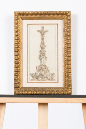 Design for a Candlestick, with Faith and another Figure below