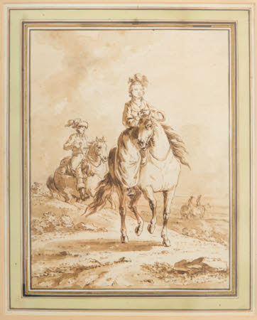 Woman in a Plumed Hat riding a Horse astride, with other Riders, in a Landscape