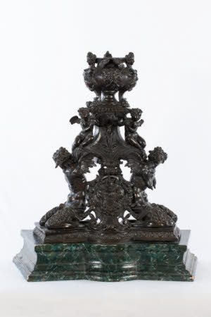 Andiron, incorporating Winged Male and Female Satyrs, Putti and Harpies and Grotesque Masks
