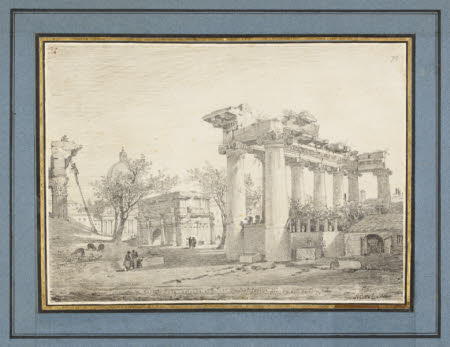 Temple of Concord, Arch of Septimus Severus, and an Architect climbing the Temple of Vespasian, ...