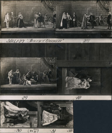 """Six scenes from """"Henry of Navarre"""", by William Devereux.  Cast possibly including Julia Neilson ..."""