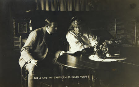 Ellen Terry (1847-1928) and James Carew (1876-1938) in the Terry room at Smallhythe Place.