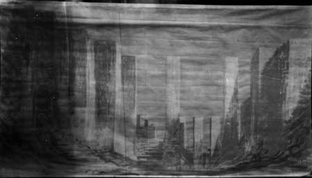 Photograph of sketch of stage by Edward Gordon Craig (1872-1966) Vence 1956