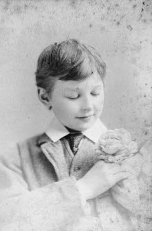 Edward Henry Gordon Craig (Stevenage 1872 - Vence 1966) as a boy, with  a flower in button hole of ...