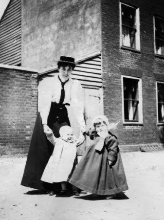 Helen Mary (May) Gibson, Mrs Edward Henry Gordon Craig (b.1872) with her children Rosemary Craig, ...