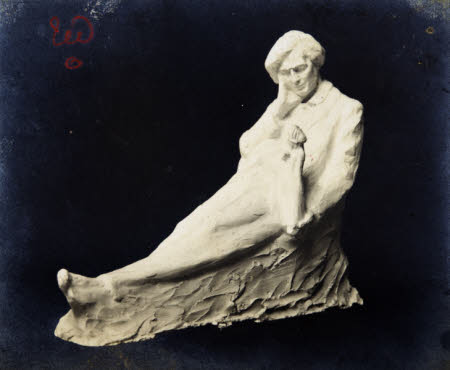 Plaster sculpture 2m. 1905? of Edward Gordon Craig (1872-1966) reclining holding a small female ...