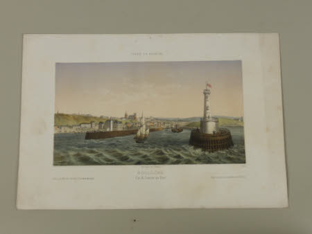 France en miniature: View of the entrance to the port of Boulogne from the sea. With a lighthouse ...
