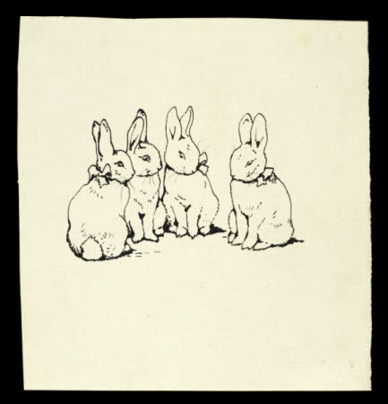Four rabbits - Flopsy, Mopsy, Cottontail and Peter - sit in a row - cover illustration of the ...
