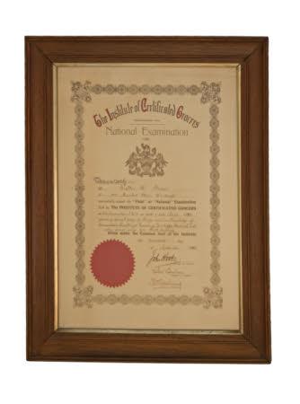 Certificate, examination certificate