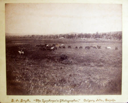 A photograph of a herd of horses grazing on Canadian prairie overlooked by two men on horseback.